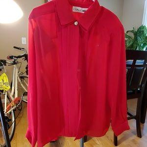 80 Vintage red sheer blouse
